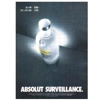 ABSOLUT SURVEILLANCE Vodka Magazine Ad