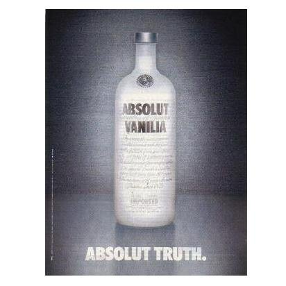 ABSOLUT TRUTH Vodka Magazine Ad VANILIA