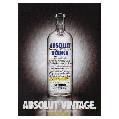 ABSOLUT VINTAGE Vodka Magazine Ad