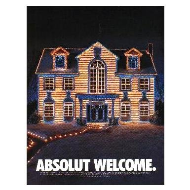 ABSOLUT WELCOME Vodka Magazine Ad CHRISTMAS LIGHTS