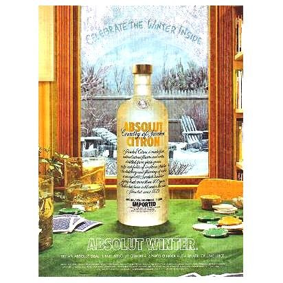 ABSOLUT WINTER Vodka Magazine Ad ABSOLUT DEAL COCKTAIL RECIPE
