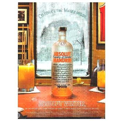 ABSOLUT WINTER Vodka Magazine Ad ABSOLUT CHILL COCKTAIL RECIPE