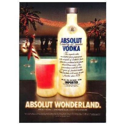 ABSOLUT WONDERLAND Vodka Cocktail Recipe Magazine Ad