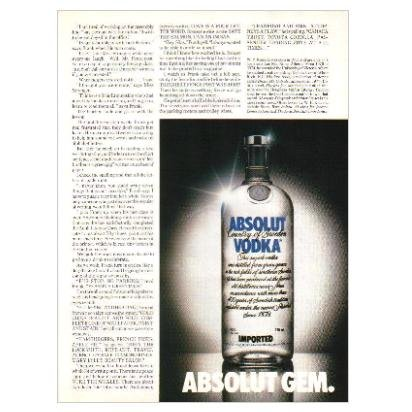 ABSOLUT GEM Vodka Magazine Ad (Partial Page)