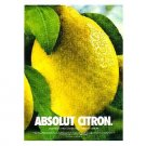 ABSOLUT CITRON Vodka Magazine Ad DEWDROPS