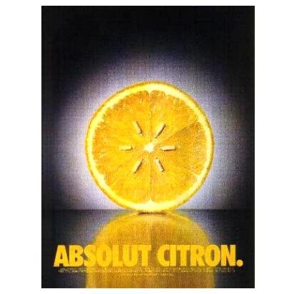 ABSOLUT CITRON Vodka Magazine Ad LEMON SEEDS Black & White Background