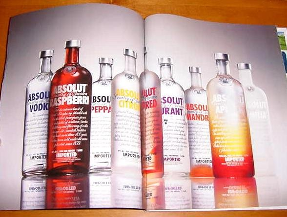 ABSOLUT VODKA Magazine Ad 9 Bottles 9 Flavors No Headline 2009 2 PAGES