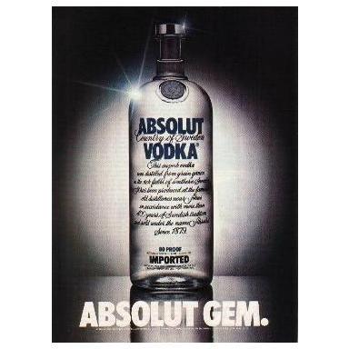 ABSOLUT GEM Vodka Magazine Ad