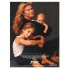CHRISTIE BRINKLEY WITH CHILDREN ALEXA RAY & JACK PARIS Milk Mustache Magazine Ad © 1995