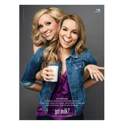 GOOD LUCK CHARLIE Leigh-Allyn Baker & Bridgit Mendler got milk? Milk Mustache Ad © 2011