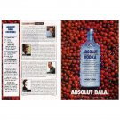 ABSOLUT BALA & Cocktail Recipe Sidebar Canadian Vodka Magazine Ad - 2 PAGES