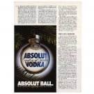 ABSOLUT BALL Vodka Magazine Ad Canadian - 1/2 PAGE
