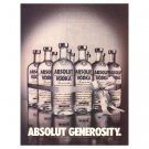ABSOLUT GENEROSITY Vodka Magazine Ad 1984