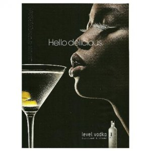 HELLO DELICIOUS Absolut Level Vodka Magazine Ad AFRICAN-AMERICAN WOMAN Looking Left