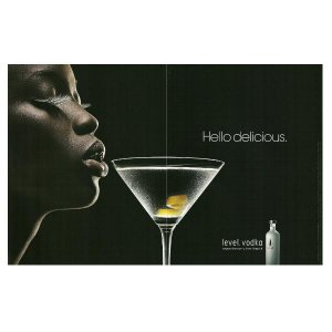 HELLO DELICIOUS Absolut Level Vodka Magazine Ad AFRICAN-AMERICAN WOMAN 2pp