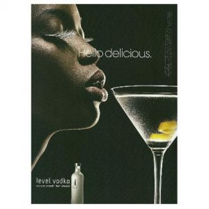 HELLO DELICIOUS Absolut Level Vodka Ad AFRICAN-AMERICAN WOMAN Looking Right