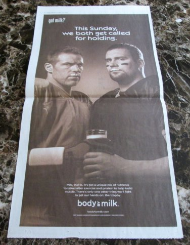 KURT WARNER and BEN ROETHLISBERGER Super Bowl XLIII got milk? Newspaper Ad