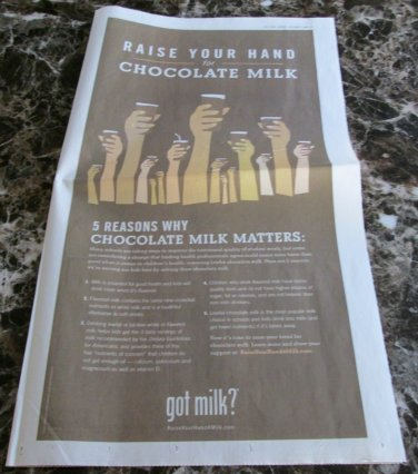 RAISE YOUR HAND FOR CHOCOLATE MILK got milk? USA Today Newspaper Ad 2009