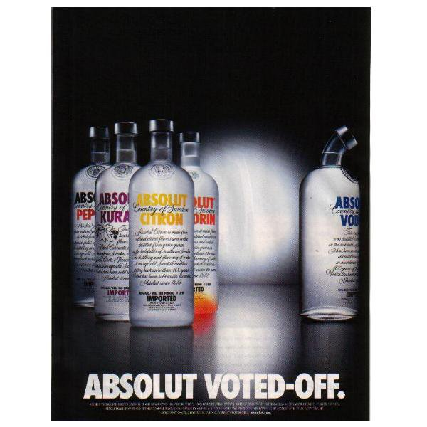 ABSOLUT VOTED-OFF Vodka Magazine Ad