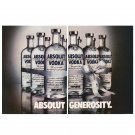 ABSOLUT GENEROSITY Vodka Magazine Ad - 2 PAGES