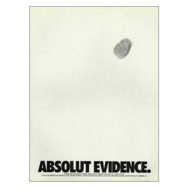 ABSOLUT EVIDENCE Vodka Magazine Ad