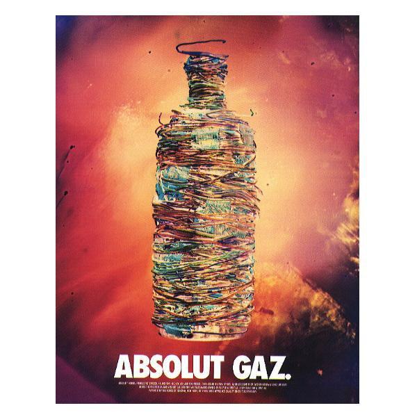 ABSOLUT GAZ Vodka Magazine ad w/ Artwork by Stan Gaz