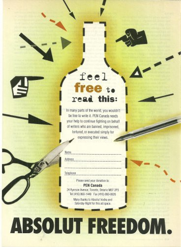ABSOLUT FREEDOM Vodka Magazine Ad Donation Plea for PEN Canada RARE!