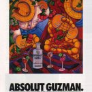 ABSOLUT GUZMAN Vodka Magazine Ad w/ Artwork by Gilberto Guzman