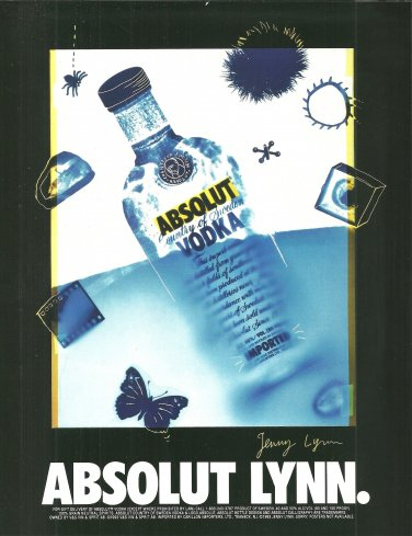 ABSOLUT LYNN Vodka Magazine Ad w/ Artwork by Jenny Lynn NOT COMMON!