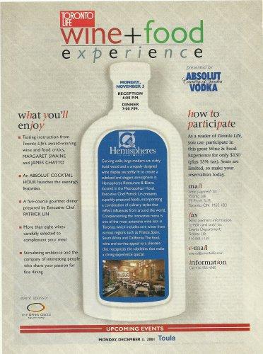 ABSOLUT LIN (Hemispheres Restaurant) Canadian Vodka Magazine Ad 2 pp RARE!