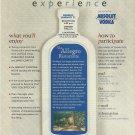 ABSOLUT LINO (Via Allegro Ristorante) Canadian Vodka Magazine Ad 2 pp RARE!