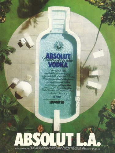 ABSOLUT L.A. Vodka Magazine Ad SWIMMING POOL