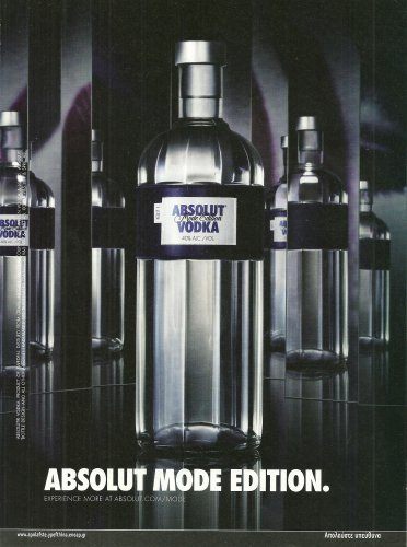ABSOLUT MODE EDITION Greek Vodka Magazine Ad NOT COMMON!