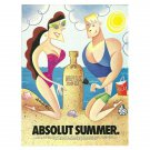 ABSOLUT SUMMER Vodka Magazine Ad w/ Artwork by Robert de Michiell