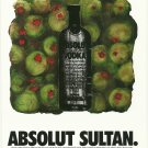 ABSOLUT SULTAN Vodka Magazine Ad w/ Artwork by Donald Sultan