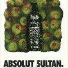 ABSOLUT SULTAN Vodka Magazine Ad w/ Artwork by Donald Sultan