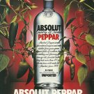 "ABSOLUT PEPPAR Vodka Magazine Ad w/ an ""A"""