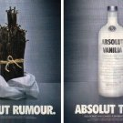 ABSOLUT RUMOUR and ABSOLUT TRUTH Canadian Vodka Magazine Ads
