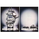 ABSOLUT SECURITY & ABSOLUT LARCENY Vodka Magazine Ads - 2 PAGES