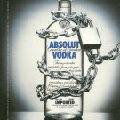 ABSOLUT SECURITY Small Size British Vodka Magazine Ad