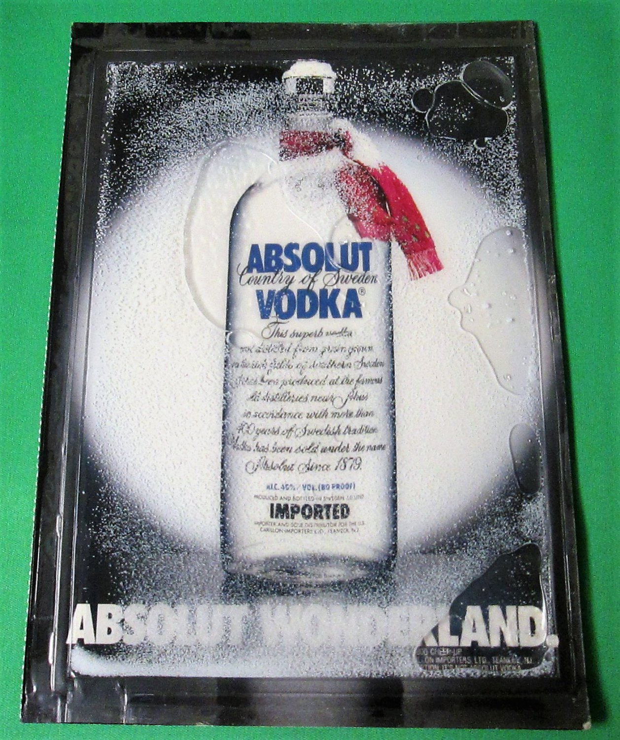 ABSOLUT WONDERLAND Christmas Snow Globe Spectacular Ad 1988