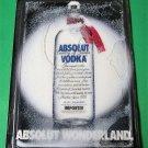 ABSOLUT WONDERLAND Christmas Snow Globe Spectacular Ad 1988