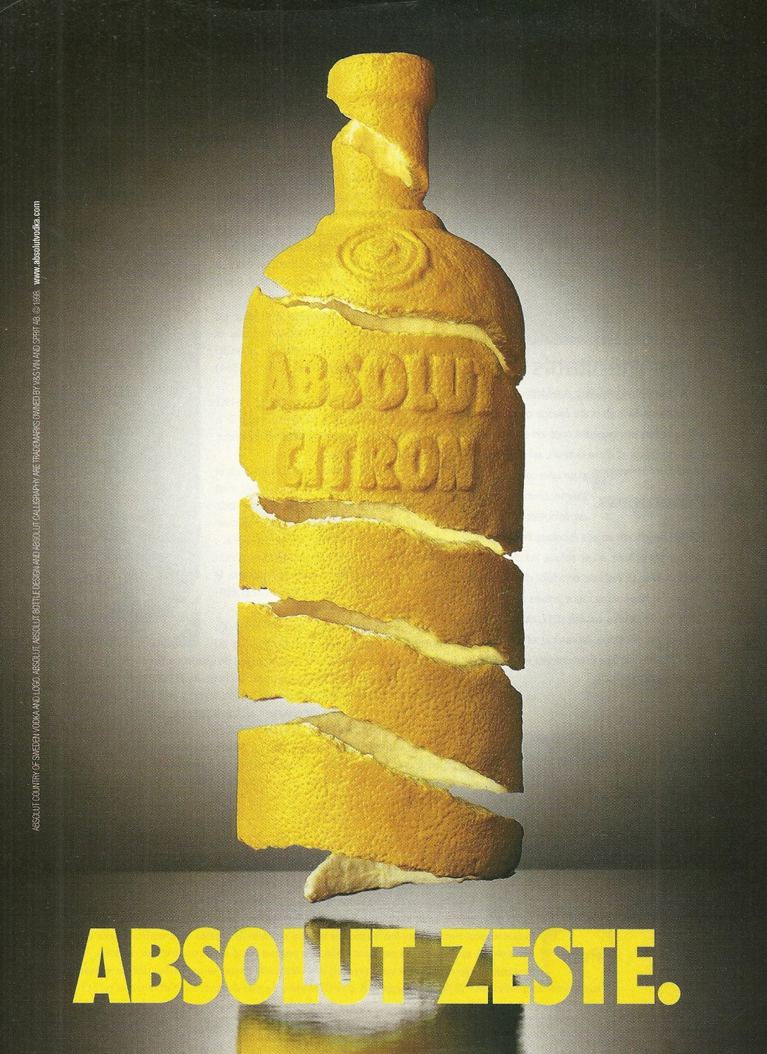 ABSOLUT ZESTE French Canadian Vodka Magazine Ad HARD TO FIND!