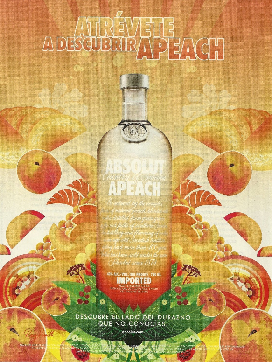 ATR�VETE A DESCUBRIR APEACH Vodka Magazine Ad SPANISH TEXT
