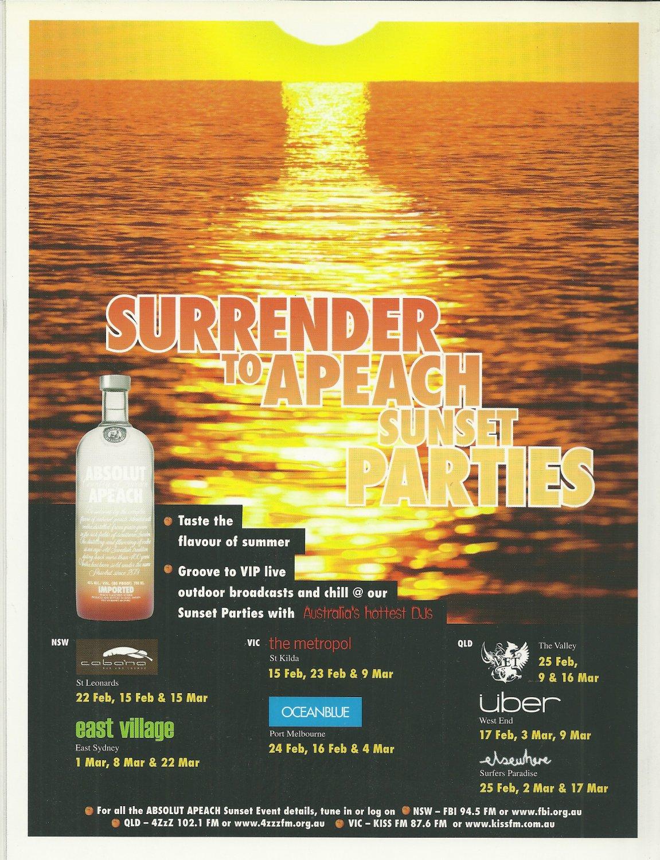 SURRENDER TO APEACH SUNSET PARTIES Australian Vodka Magazine Event Schedule Ad RARE!