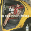 IN AN ABSOLUT WORLD Vodka Magazine Ad NEW YORK TAXI ROLLER COASTER