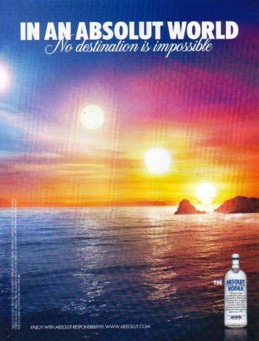IN AN ABSOLUT WORLD British Vodka Magazine Ad NO DESTINATION IS IMPOSSIBLE