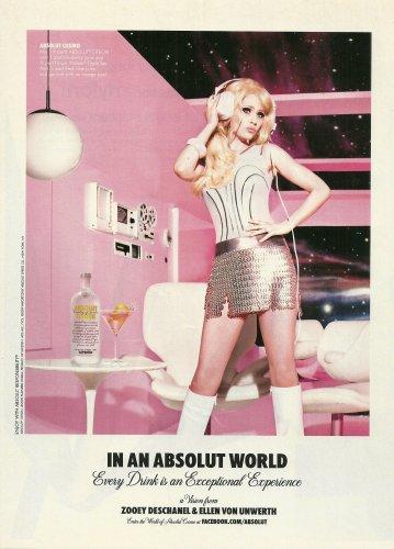 IN AN ABSOLUT WORLD Vodka Magazine Ad ZOOEY DESCHANEL & ELLEN VON UNWERTH