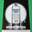 ABSOLUT BASTILLE French Vodka Magazine Ad NOT COMMON!