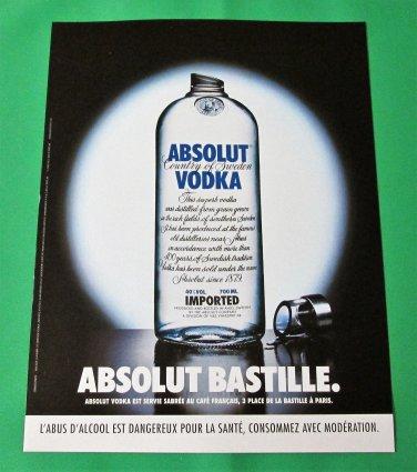 ABSOLUT BASTILLE French Vodka Magazine Ad NOT COMMON!
